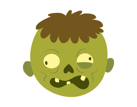 Colorful zombie scary cartoon character and magic people body part cartoon fun. Cute green cartoon zombie character part of body monster vector illustration. Horror zombie people isolated