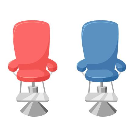 Vector barber chair on white background. Hairdressing interior old elegance equipment hairdresser barber chair. Furniture seat design hairdresser barber chair beauty barbershop equipment.