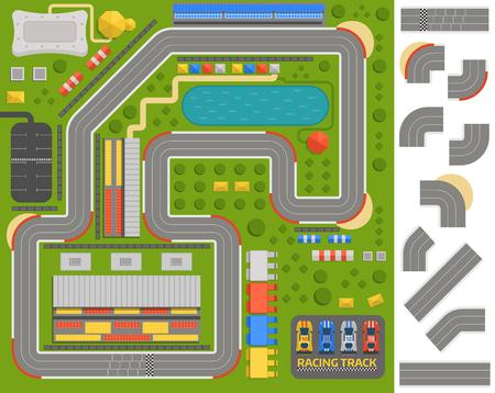 車スポーツ トラック レース トラック曲線道路ベクトル車スポーツ トラックの平面図です。スポーツ車トラック コンス トラクター、道路シンボル  イラスト・ベクター素材