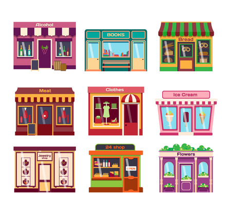 food market: Set of vector flat design restaurants and shops facade icons. Includes bakery, pharmacy, electronics store, ice cream shop, book shop facade, butcher shop, trendy clothing store, jewelry store facade. Illustration
