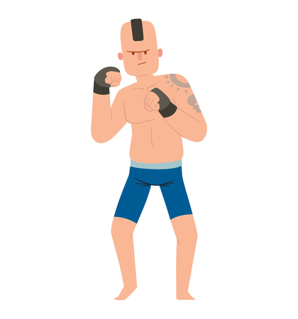 Fighter kickboxer man kick punch grab throw body vector. Athlete training boxing fighter people symbol character. Fighter man strong gym kick body. Mix fight people