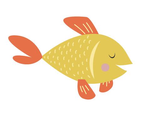 Gold fish nature marine fish bowl tropical underwater vector pet. Isolated on white goldfish underwater pet living in fish bowl. Aquatic clear water tail tank beautiful carp orange gold fish. Illustration