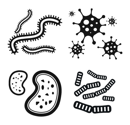 microorganisms: Bacteria virus vector icon. Biology microorganisms, microbes germs and bacilli. Vector biology icons, medical virus icons, bugs isolated. Virus science microbe vector icon. Virus bacteria icon