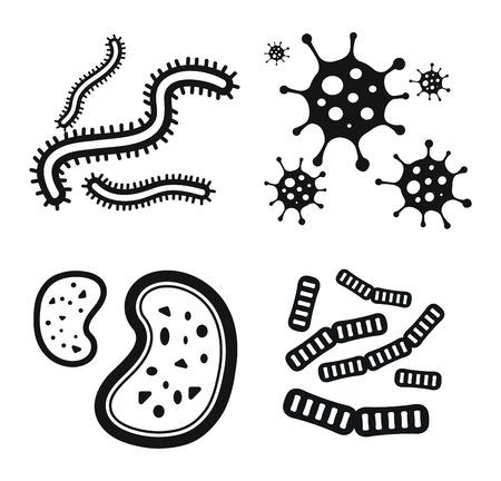 microbio: virus de las bacterias del icono del vector. Biología microorganismos, microbios y gérmenes bacilos. biología iconos vectoriales, iconos de virus, errores médicos aislados. ciencia Virus icono microbio del vector. icono de virus bacterias