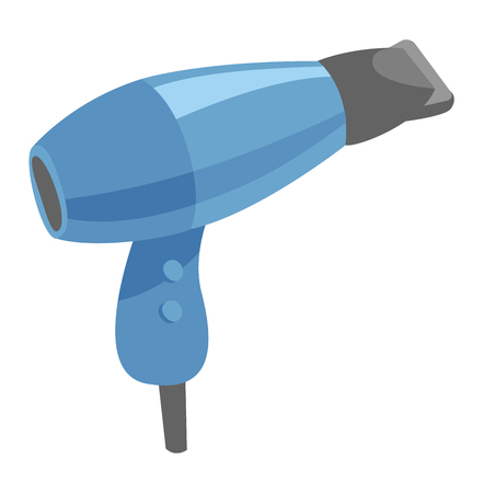 hairdryer: Fashion hairdryer tool and electric hair dryer care barber symbol vector. Hair Dryer tool and accessory to create beautiful hair flat vector icon.