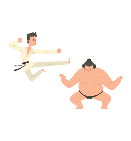 Fighter karate and sumo man kick punch grab throw body vector. Athlete training martial karate fighter people symbol character. Fighter man strong gym kick body. Fight people