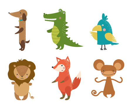 backgrund: Cute animals vector character isolated on white backgrund. Pretty kids style wild and farm pet animals character isolated. Some animals