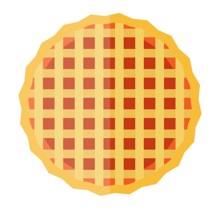 crisp: Sweet waffle cakes vector illustration. Delicious breakfast candy pattern wafer cake biscuit cream brown cookie. Tasty sugar wafer cake crisp confectionery gourmet textured cookie.