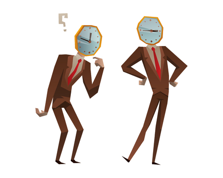 delay: Businessman watch head vector illustration. Time business concept. Businessman clock time run and delay. Business man time concept situation, watching clock time