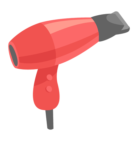 electric dryer: Fashion hairdryer tool and electric hair dryer care barber symbol vector. Hair Dryer tool and accessory to create beautiful hair flat vector icon.