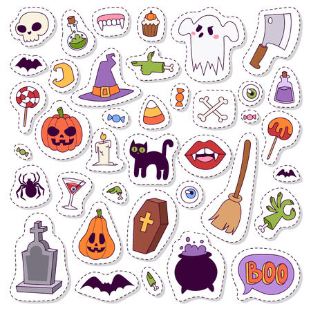 halloween symbols: Halloween symbols vector collection autumn fear creepy traditional sign. Halloween symbols holiday bat horror design set. Celebration ghost spooky october halloween symbols.