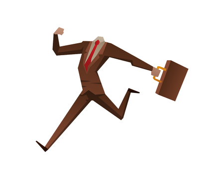 Stil: Businessman with no head vector illustration. Time business concept. Businessman clock time run and delay. Business man time concept situation, time concept, Stil office life, no head man Illustration