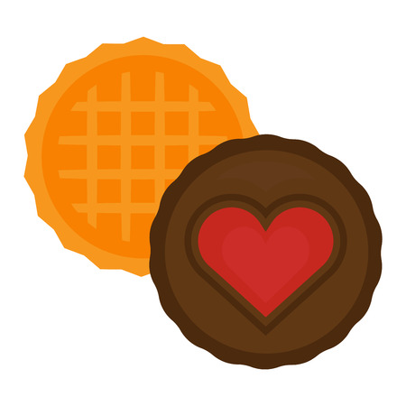 fattening: Biscuit heart cake isolated chocolate cookies on white and biscuit isolated vector food icon. Biscuit isolated sweet dessert and delicious cake isolated eating healthy cookie. Illustration