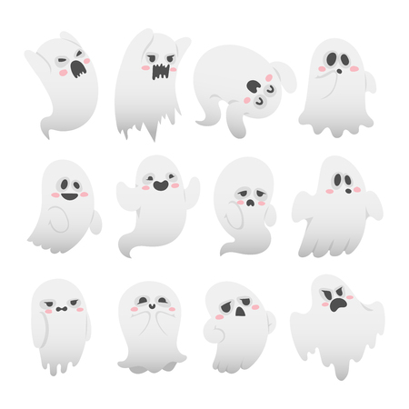ghost character: Cartoon spooky Ghost character vector set. Spooky and scary holiday monster design ghost character. Costume evil silhouette ghost character creepy funny cartoon cute spooky night symbol.