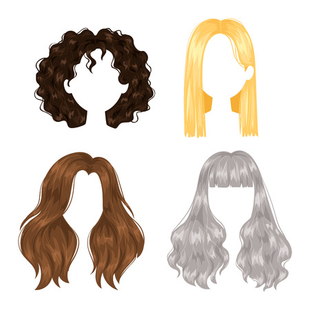 Vector design of beautiful collection of female hairstyle. Portrait beautiful woman hairstyle straight smooth brown hair. Styling brunette woman hairstyle fashion wellness pretty profile. Illustration