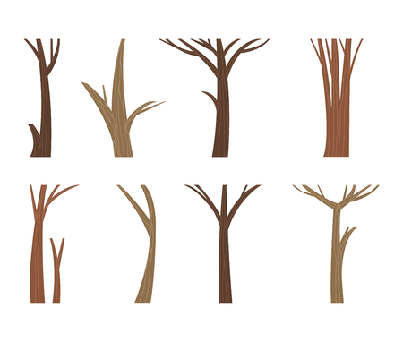 Illustration tree trunk dead single forest branch set. Nature wood tree trunk forest branch environment. Leafless tree trunk vector organic timber wooden dry set. Wooden dry tree branch set.