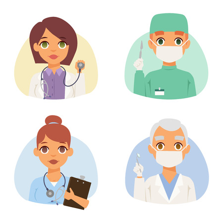 specialists: Group of doctors and nurses and medical staff people. Medical team doctors specialists concept in flat design people characters. Doctors specialist uniform surgeon practitioner female vector.