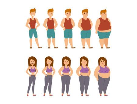 Os desenhos animados gordos da mulher e do homem denominam fases diferentes vector a ilustração. Problemas de gordura. Cuidados de saúde. Fast-food, esporte e pessoas gordas. Ilustração de pessoas de processo de obesidade. Conceito menos gordo