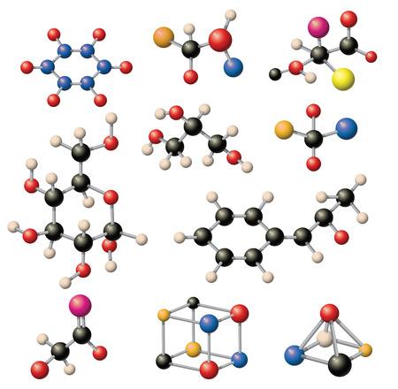 Ensemble de structures moléculaires colorées en forme de sphère. Structure moléculaire technologie microscopique, web design, molécule géométrique. élément organique structure moléculaire concept évolution de la physique.