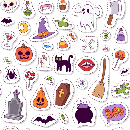 halloween symbols: Halloween symbols seamless pattern vector collection autumn fear creepy traditional sign. Halloween symbols holiday bat horror design set. Celebration ghost spooky october halloween symbols. Illustration