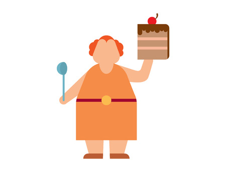 health problems: Fat people vector abstract silhouette character. Fat people body icons symbol silhouette. Health problems. Diet food human problems Illustration