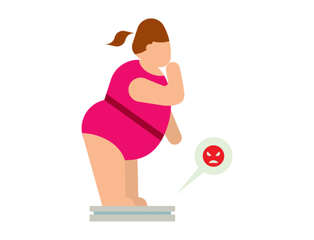 Fat people vector abstract silhouette character. Fat people body icons symbol silhouette. Health problems. Diet food human problems Illustration