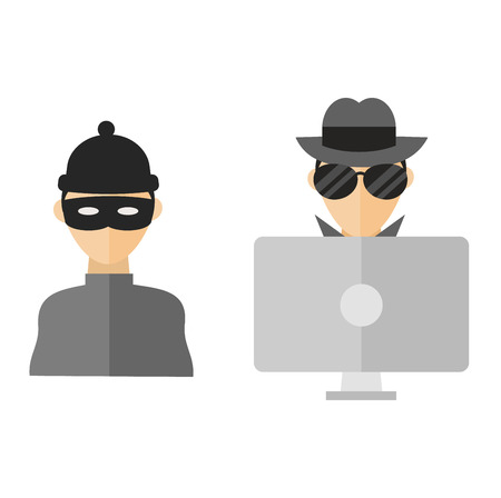 Portrait of hacker with mask password security crime technology. Computer hacker spread net virus protection. Computer hacker silhouette of hooded man with binary data and network security terms Ilustrace