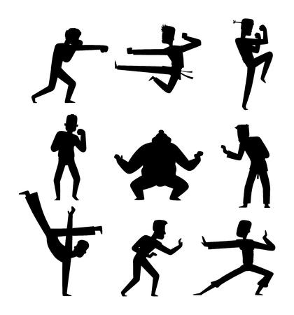 kick boxing: Fighters people muay thai boxing karate taekwondo wrestling kick punch grab throw people icon. Athlete training martial boxing fighters people symbol characters. Fighters people strong gym kick body.