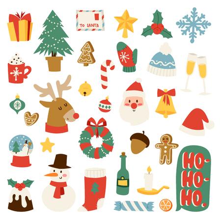 Christmas greeting card symbols vector winter celebration design. Merry christmas symbols holidays winter decoration ornament collection. Hand drawn New Year greeting card christmas symbols. Vettoriali