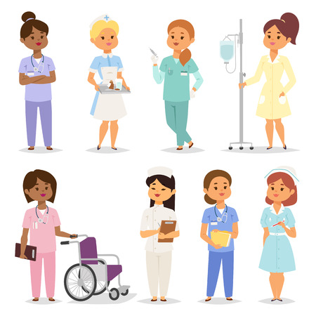 practitioner: Medical team of doctors and nurses meeting in hospital setting for lesson, rounds or planning. Nurses character female of many ethnic people. Nurses character medical practitioner hospital treatment.