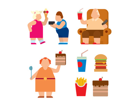 Fat people vector flat silhouette icons. Fat people body icons symbol. Fat people silhouette. Fat people problems. Fat mans, woman, kids children. Fat people food, sport, problems. Fat people icons 免版税图像 - 62820915