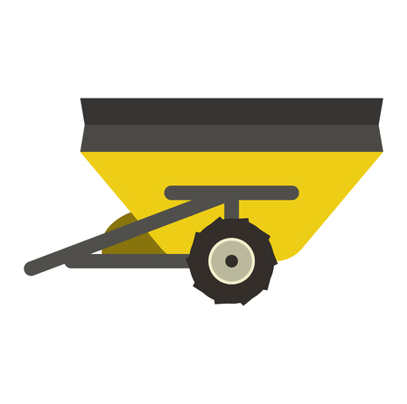 agronomy: Agricultural farm trailer isolated. Tractor agricultural rural machinery vehicle farm trailer. Industrial agronomy engine farm trailer harvest farming machine industry equipment. Illustration
