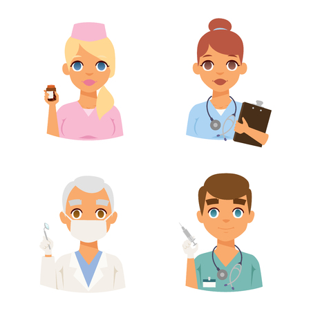 practitioner: Group of doctors and nurses and medical staff people. Medical team doctors specialists concept in flat design people characters. Doctors specialist uniform surgeon practitioner female vector.