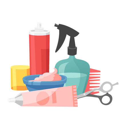 cutting tools: Cute hairdresser hair care icons isolated on white. Professional stylish hairdresser barber hair cutting tools. Client barber equipment icons isolated. Illustration