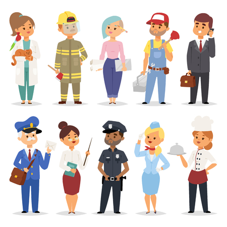 People professions qualification employment and success concept happy different businessman. Over group of professional workers male uniform isolated flat character. People professions design vector.