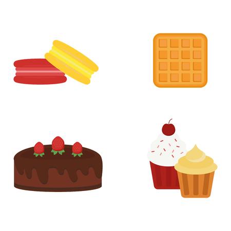 pareja comiendo: Galleta pasteles diferentes aislados galletas de chocolate en blanco y aislado de galletas del vector icono de los alimentos. Galleta aislada postre dulce y delicioso pastel aisladas come la galleta saludable.