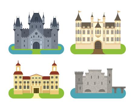 Cartoon fairy tale kasteeltoren icoon. Leuke cartoon kasteel architectuur. Vector illustratie fantasy huis sprookjesachtige middeleeuwse kasteel. Princess cartoon kasteel cartoon bolwerk ontwerp fabel geïsoleerde