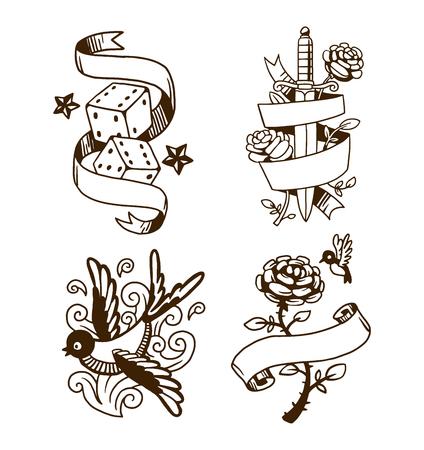 tragos: ilustración vectorial elemento de tatuaje de la escuela vieja. tatuaje vector de dibujos animados de estilo divertido y tatuaje dibujado mano de la vendimia vieja de la tinta. Viejo tatuaje estilo de la vendimia Vectores