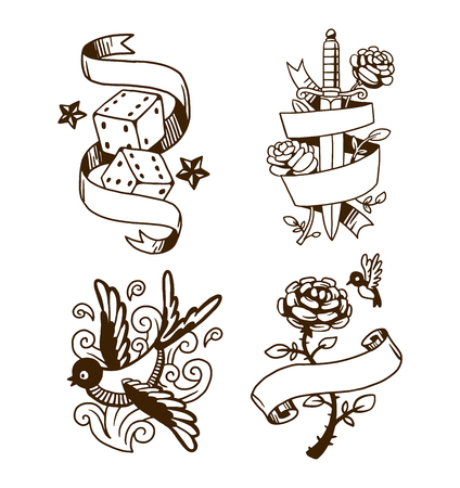 Old school tattoo element vector illustration. Cartoon vector tattoo in funny style and old vintage ink hand drawn tattoo. Old vintage style tattoo