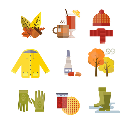 Collection of autumn clothes items. Clothes related to autumn and winter. Clothes autumn, winter clothes. Acorns, leaves trees autumn, rain clouds. Bad autumn cold weather clothes. Red, yellow colors
