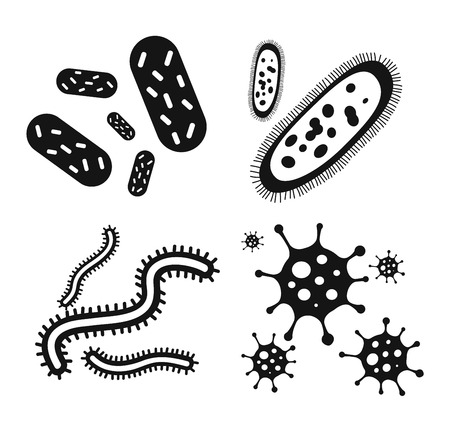 Bacteria virus vector icon. Biology microorganisms, microbes germs and bacilli. Vector biology icons, medical virus icons, bugs isolated. Virus science microbe vector icon. Virus bacteria icon