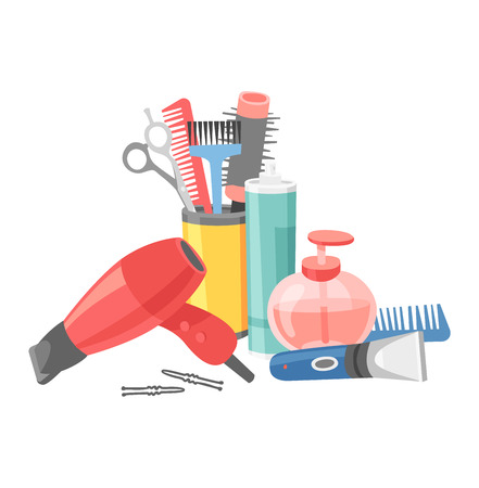 haircutting: Cute hairdresser hair care icons isolated on white. Professional stylish hairdresser barber hair cutting tools. Client barber equipment icons isolated. Illustration