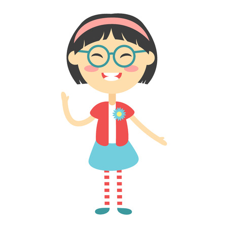young schoolgirl: Cute japanese baby kid girl character vector. Cute girl beautiful fashion young female. Cute japanese girl schoolgirl isolayted on white