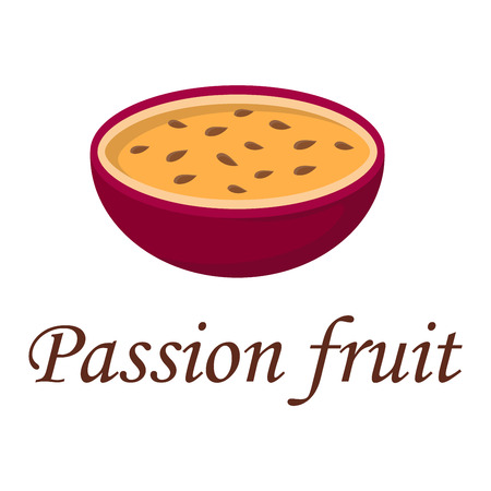 passion fruit: Passion fruit vegetarian freshness snack vitamin vector illustration. Diet tasty natural sweet tropical passion fruit exotic dessert. Healthy juicy slice passion fruit organic maracuya seed. Illustration