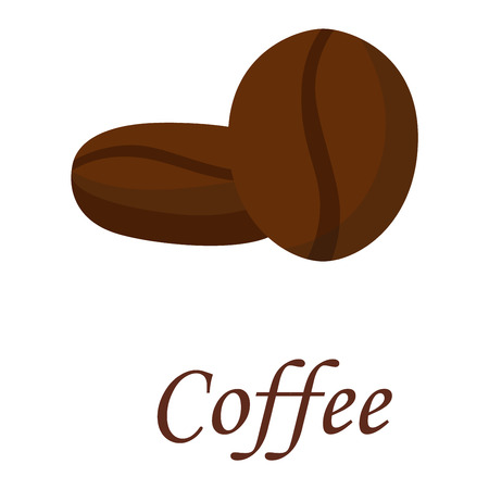 caffeine: Coffee beans vector illustration black espresso natural aroma breakfast. Caffeine beverage cafe food coffee beans roasted dark ingredient. Natural aroma coffee beans agriculture energy.