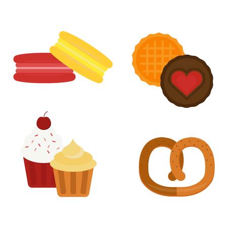 Galleta pasteles diferentes aislados galletas de chocolate en blanco y aislado de galletas del vector icono de los alimentos. Galleta aislada postre dulce y delicioso pastel aisladas come la galleta saludable.