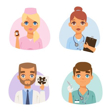 Grupo de médicos y enfermeras y personas del personal médico. Concepto médico del equipo de especialistas médicos en el diseño de personajes planos personas. Los médicos especialistas uniforme cirujano practicante vector femenina. Ilustración de vector