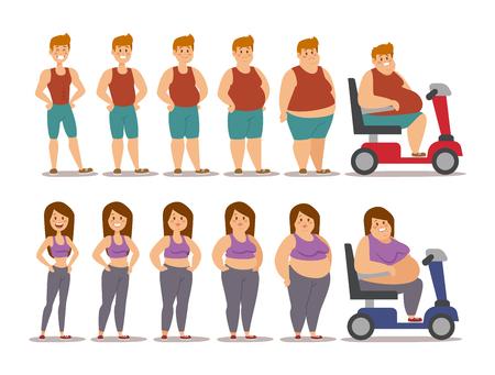 뚱뚱한 여자와 남자 만화 스타일 다른 단계 벡터 일러스트 레이 션. 지방 문제. 건강 관리. 패스트 푸드, 스포츠 및 뚱뚱한 사람들. 비만 프로세스 사람들이 그림. 뚱뚱한 적은 개념