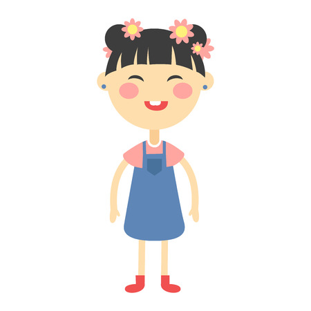 korea girl: Cute japanese baby kid girl character vector. Cute girl beautiful fashion young female. Cute japanese girl schoolgirl isolayted on white