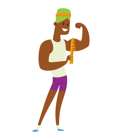 Beauty fitness man weight loss vector cartoon illustration. Weight loss, weight loop concept. Thin people diet, gym, measure. Losing weight, good figure, strong body. Weight lose vector man